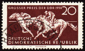 Horse riding sports on post stamp — Stock Photo