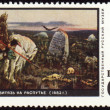 Picture &quot;Knight at the crossroad&quot; by Vasnetsov on post stamp - Stock Photo