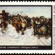 Picture &quot;Storm of Snow Fortress&quot; by Surikov on post stamp - Stock Photo