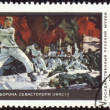 "Picture ""Defence of Sevastopol"" by Deyneka on post stamp - Stock Photo"