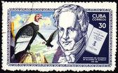 Alexander von Humboldt and eagle on post stamp — Stock Photo