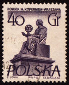 Polish astronomer Mikolas Kopernik on post stamp — Stock Photo