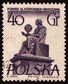 Polish astronomer Mikolas Kopernik on post stamp — Stock Photo