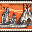 Постер, плакат: Picture from injun life on post stamp