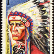 Portrait of injun chieftain on post stamp — Stock Photo #5651175