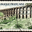 Viaduct in France on post stamp - Stock Photo