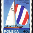 Yacht Finn on post stamp — Stock Photo