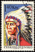 Portrait of injun chieftain on post stamp — Fotografia Stock