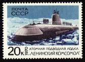 "Post stamp with soviet submarine ""Leninsky Komsomol"" — Stock Photo"
