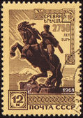 Statue of David Sassoon in Yerevan on post stamp — Stock Photo