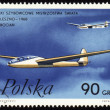 Stockfoto: Glider world championship in Leszno-1968 on post stamp
