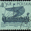 Scandinavian ship on post stamp - Stock Photo