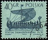 скандинавские корабль по почтовому штемпелю — Стоковое фото