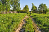 Country dirt road at outskirts of a village — Stock Photo