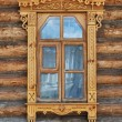 Carved wooden window - Foto Stock