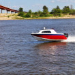 Speed boat on a river — Stock Photo