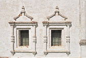 Two vintage windows in ancient monastery — Stock Photo