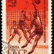 Volleyball competition on post stamp — Stock Photo #6159194