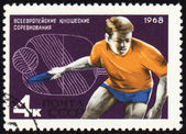 Table tennis player on post stamp — Stock Photo