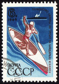 Canoe oarsman on post stamp — Stock Photo