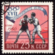 Post stamp shows two boxers — Stock Photo