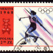 Постер, плакат: Javelin throwing on post stamp of Poland