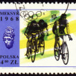 Group of cyclists on polish post stamp — Stock Photo #6293421