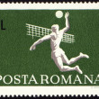 Stock Photo: Volleyball on post stamp