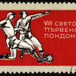 Football players on post stamp — Stock Photo