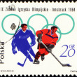 Two hockey players on post stamp — Stock Photo