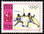 Fencing on post stamp of Poland — Stock Photo