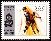 Basketball on post stamp of Poland — Stock Photo
