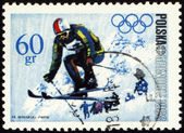Ski jumper on post stamp — Stock Photo