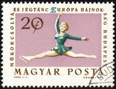 Figure skating on post stamp — Zdjęcie stockowe