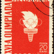 Olympic torch on post stamp — Stock Photo #6342172