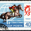 Jumping show on post stamp — Stock Photo