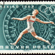 Постер, плакат: Javelin throwin on post stamp