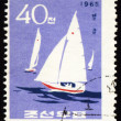 Yachts in a sea on post stamp — Stock Photo