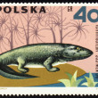 Stock Photo: Dinosaur Ichthyostegon post stamp