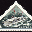 Passenger ship on post stamp — Stock Photo