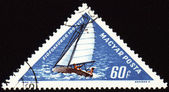 Yacht on post stamp — Stock Photo