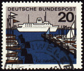 Harbor on German post stamp — Stock Photo