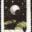 Post stamp with communication satellite — Stock Photo
