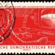 Spacecraft cabin with first astronaut Yuri Gagarin on post stamp - Stock Photo