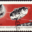 "Post stamp with russian automatic spaceship ""Luna-10"" - Stock Photo"