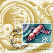 "Stock Photo: Post stamp with soviet spaceship ""Soyuz-3"""