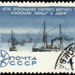 Stock Photo: Icebreakers Taimyr and Vaigach on post stamp