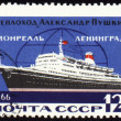"Passenger ship ""Alexander Pushkin"" on the line to Leningrad, Mont — Stock Photo"