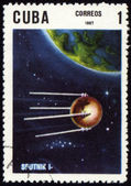 "Post stamp with first russian satellite ""Sputnik-1"" — 图库照片"