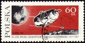 "Post stamp with russian automatic spaceship ""Luna-10"" — Zdjęcie stockowe"